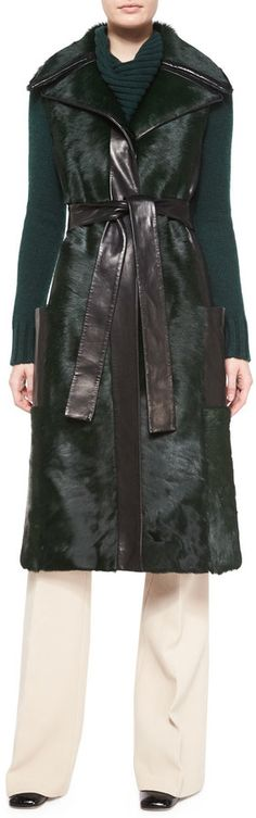 f*ck yeah fur - Derek Lam Sleeveless Calf Fur Leather-Trim Coat,...