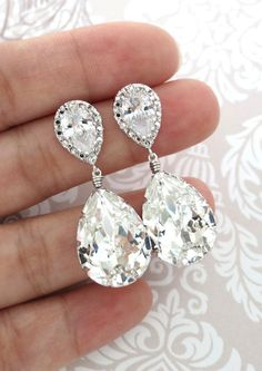 Sandra - Swarovski Crystal Teardrop Earrings, Silver, Cubic Zirconia Earrings, Bridesmaid Earrings, Bridal Jewelry, Wedding Jewelry, www.glitzandlove.com
