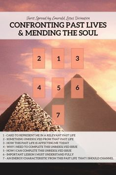 Tarot spread for exploring past lives and healing the soul. Enjoy! Find more free spreads at www.emeraldlotus.ca #tarotcardsforbeginners