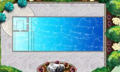 rectangular pool with tanning ledge - Google Search
