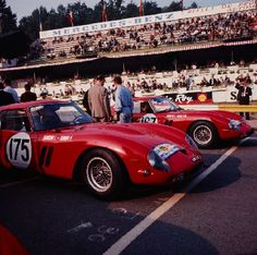 Revs Digital Library: Tour de France 1963 Race Number 175, Ferrari GTO driven by Lorenzo Bandini and Fernand Tavano and Race Number 167, Ferrari 250 GTO driven by Lucien Bianchi and Carlo Mario Abate, at the starting line.