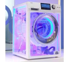 At last year's CES, Haier showed off a transparent TV, which never took off for the obvious reason that nobody needs or wants a transparent TV. Today, a great leap forward: a neon, see-through washing machine. Lampe Retro, Future Shop, Future House, New Retro Wave, Purple Aesthetic, Aesthetic Light, City Aesthetic, Dream Rooms, Neon Lighting