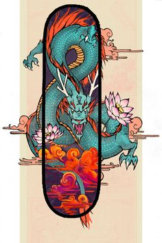 A board meant for wall art than actual sidewalk surfing. It's colorful and complementary with the orange and blue for the serpent's body as it coals in and out of the board's space. There seems to be an illusion gap of time between the board space and outer art board with the use of contrasting purples of dusk/dawn against the outer board's claiming peace tone. The clouds further suggest this with the distinct change from dull to bright orange as they float into the board space.