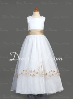 A-Line/Princess Scoop Neck Floor-Length Organza Satin Flower Girl Dresses With Embroidered Ruffle Sash (010007401) - DressFirst en
