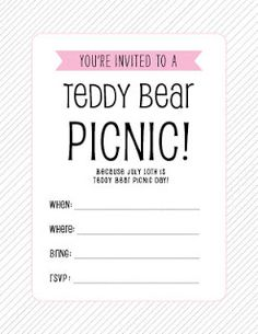 ... teddy bear picnic more invitations printables teddy bears picnics july