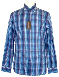 Michael Kors Mens Shirt KNICKERBOCKER Plaid Button Down Blue Sz S NEW NWT $195 #MichaelKors #ButtonFront
