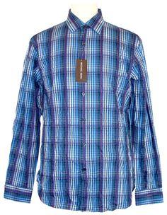 Michael Kors Mens Shirt KNICKERBOCKER Plaid Button Down Blue Sz S NEW NWT $195 #MichaelKors #ButtonFront
