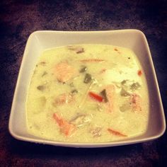 Creamy Norwegian Fish Soup.  If you ever visit Norway, I highly recommend the Norwegian Fish Soup, simply delicious.