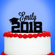 Graduation Cake Topper, Graduation Party Decorations, Personalized Graduate with Year Acrylic Cake Topper - Set of 1 Graduation Cake Toppers, Graduation Party Favors, Graduation Celebration, Graduation Decorations, Graduation Year, Custom Cake Toppers, Custom Cakes, Cupcake Toppers, First Communion Cakes
