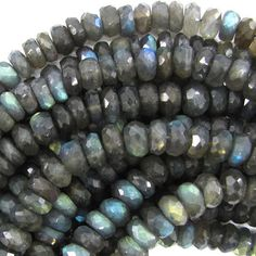 7mm faceted labradorite rondelle beads 9.75 strand by EagleBeadz