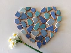 Blue Genuine Sea Pottery, Tiles, 37 pieces Art Projects, Tiles, Mosaic, Pottery, Sea, Artist, Crafts, Blue, Etsy