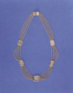 Necklace that is said to have belonged to Marie Antoinette. Inside the medallions is supposedly hair from three of her children, Marie Therese, Louis Charles, and Sophie.