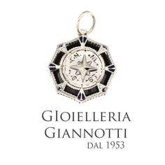 Rosa dei venti in oro bianco con pietre nere #GioielleriaGiannotti1953 #Napoli #MadeInItaly #artigianato