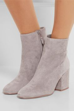 Heel measures approxiamtely 75mm/ 3 inches Gray suede Zip fastening along side Imported
