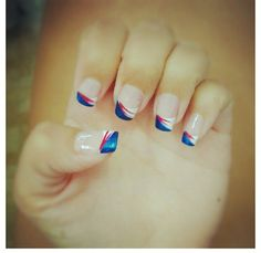 Fourth of July nail design . Red white and blue