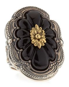 Carved Floral Onyx Iris Ring by Konstantino at Neiman Marcus Last Call.