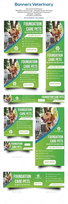 Veterinary Banners Template #design Download: http://graphicriver.net/item/banners-veterinary/12420759?ref=ksioks