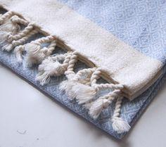 Gorgeous mini turkish hand towels available at www.tonicliving.com Saint Tropez, Light Blue