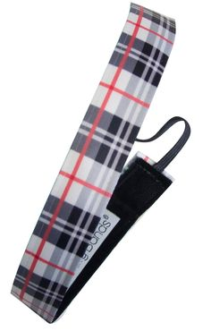 """Sweaty Band Fitness Headband - Plaid About You - Black/White/Red - 1"""" Wide"""