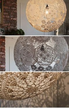 Garden orbs of lace!!!! quick find the fabric stiffener!  These would be amazing to reflect snowflakes!!!