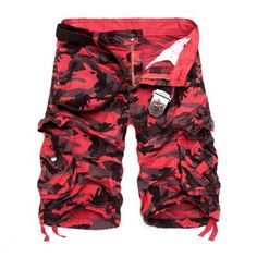 6fee88ebee6 2018 New Camouflage Loose Cargo Shorts Men Cool Summer Military Camo Short  Pants Hot Sale Homme Cargo Shorts No belt