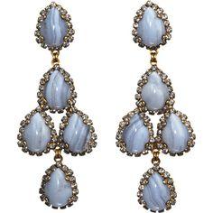 dusty blue chandelier earrings