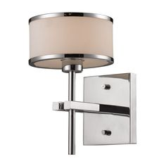 Elk Lighting 11415 1 Light Bathroom Sconce From The Utica Collection Polished Chrome Indoor
