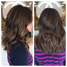Medium length hair balayage highlights with dark base caramel brunette