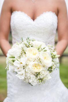 White david austin roses, hydrangea, lisianthus and waxflower