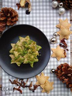 lecker & co: Pilzravioli mit Petersilien-Cashew-Pesto - vegan