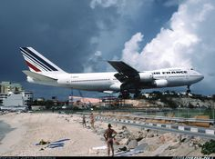 """Yeah, he is REAL low! If Air France had names for their aircraft like Pan Am did, we could call this one """"Clipper of the Fence"""". - Photo taken at Philipsburg / St. Maarten - Princess Juliana (SXM / TNCM) in St. Maarten on October 28, 2001."""
