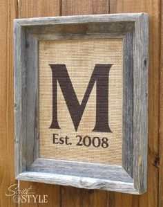 Personalized Monogram Family Name Sign, Initial Sign, Burlap with Barn Wood Frame, 8x10. $39.99, via Etsy.