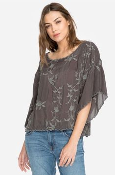 Johnny Was Winter Vine Cropped Top Sanded Black Satin Top, Retro Floral, Johnny Was, Pink Fabric, Size Model, Casual Tops, Vines, Ruffle Blouse, Tunic Tops