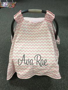 Monogrammed Minky Sided Carseat Canopy by ThreeLittleMiracles, $45.00