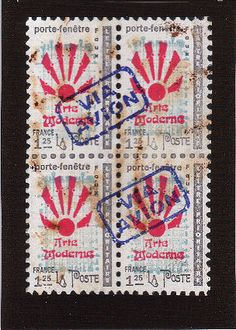 Faux Postage Stamp Created Using Mail Art Rubber Stamps.