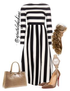 """Apostolic Fashions #836"" by apostolicfashions on Polyvore featuring Valentino, Christian Louboutin, Unützer and FOSSIL"