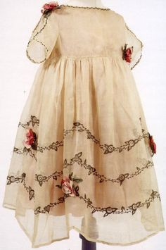 Antique French Child's Dress with ribbon roses.