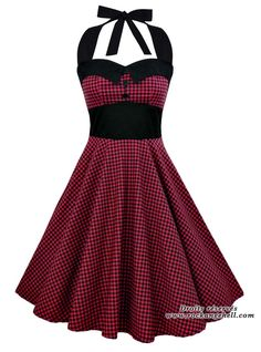 "Robe Rockabilly Pin-Up Retro Swing Rock Ange'Hell ""Ashley Red Black Vichy"" Rockabilly Dresses, Rockabilly Pin Up, 50s Dresses, Homecoming Dresses, Vintage Dresses, Casual Dresses, Vintage Outfits, Robes Pin Up, Vintage Style"