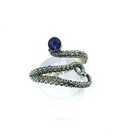 octopus silver ring, iolite ring, tentacle ring, silver adjustable ring, octopus ring with gemstone Blue Rings, Silver Rings, Octopus Ring, Evil Eye Jewelry, Green Peridot, Tentacle, Red Garnet, Pink Tourmaline, Stone Rings