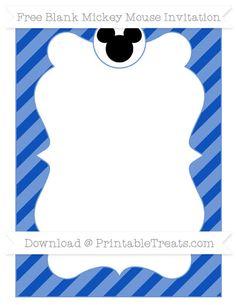 Free Sapphire Blue Diagonal Striped Blank Mickey Mouse Invitation