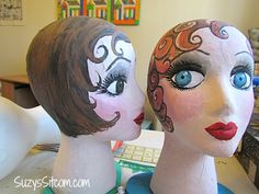 How to make handpainted paper mache mannequin heads. Would like to make one in an infant's size and paint to look like a baby to hold baby bonnets. Headband Display, Hat Display, Display Ideas, Styrofoam Head, Hat Holder, Paper Mache Crafts, Hat Stands, Mannequin Heads, Halloween Projects