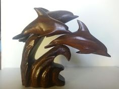 Hand Carved Ironwood Pod of 3 Jumping Dolphins on by TamayaGifts
