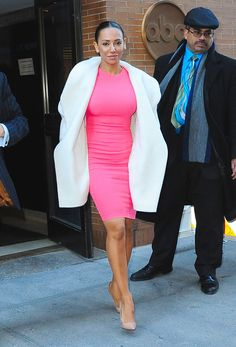 Dressed to impress: Earlier Mel taped an appearance on The View where she looked stunning . Mel Brown, Spice Girls, Celebs, Celebrities, Looking Stunning, Stargazing, Dress To Impress, Celebrity Style, Dresses For Work