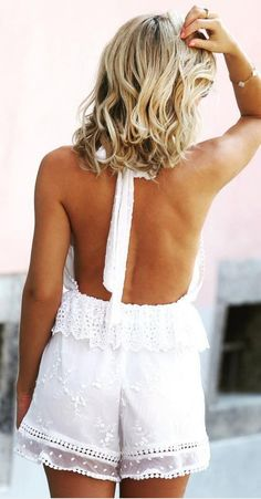 #bs0811 #street #style #fashion #inspiration |White Lace Backless Romper