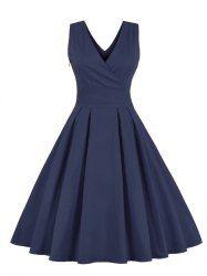 Retro Back Bowknot Sleeveless Midi Dress (PURPLISH BLUE,M) | Sammydress.com Mobile