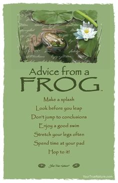 Advice from a Frog Frameable Art Card – Your True Nature, Inc. Funny Frogs, Cute Frogs, Frog Quotes, Life Quotes, Leap Year Quotes, Just In Case, Just For You, Animal Spirit Guides, Animal Medicine