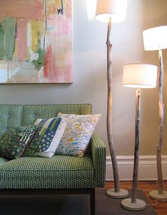DIY stick floor lamps!! Perfect for the stick I picked up from our trip to bodega bay!! Fictional memorabilia!!! Lol