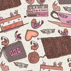 shabby chic pattern birds books knitting cake