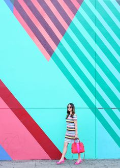 Blue, Green, Pink and Red colorful wall in Los Angeles by Teddy Kelly // via @Jennifer_Lake #wallcharades