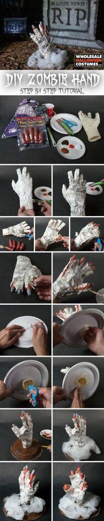 DIY Zombie Hand Tutorial for Halloween 2015!